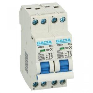 Gacia Kookgroep 16A B 2x 1 polig + nul Installatieautomaat