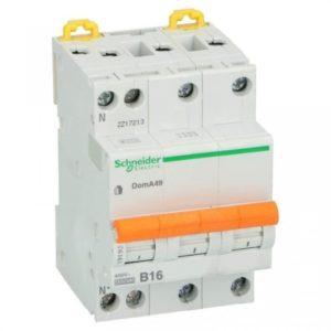Schneider Electric 16A 3 polig + nul kar B 4.5kA Installatieautomaat Domae